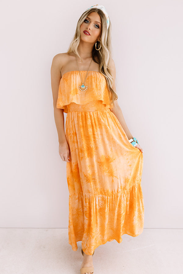Craving Cabo Tie Dye Maxi In Orange