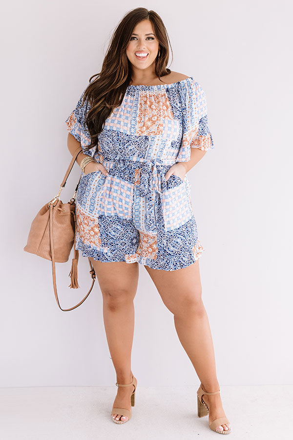 Pompeii Please Off Shoulder Romper In Orange