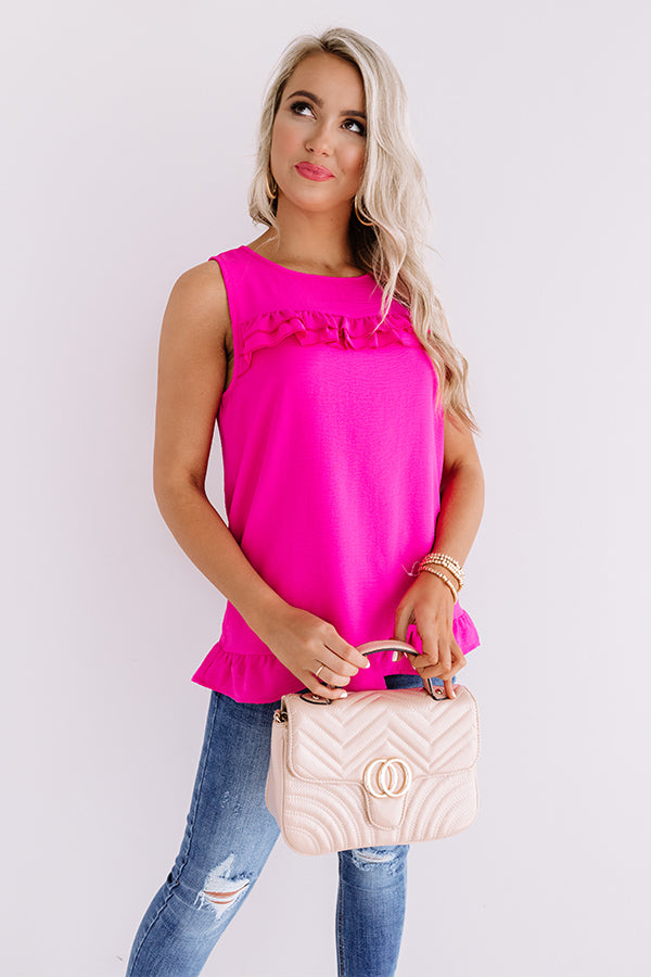 Pleasant Afternoon Shift Top In Fuchsia