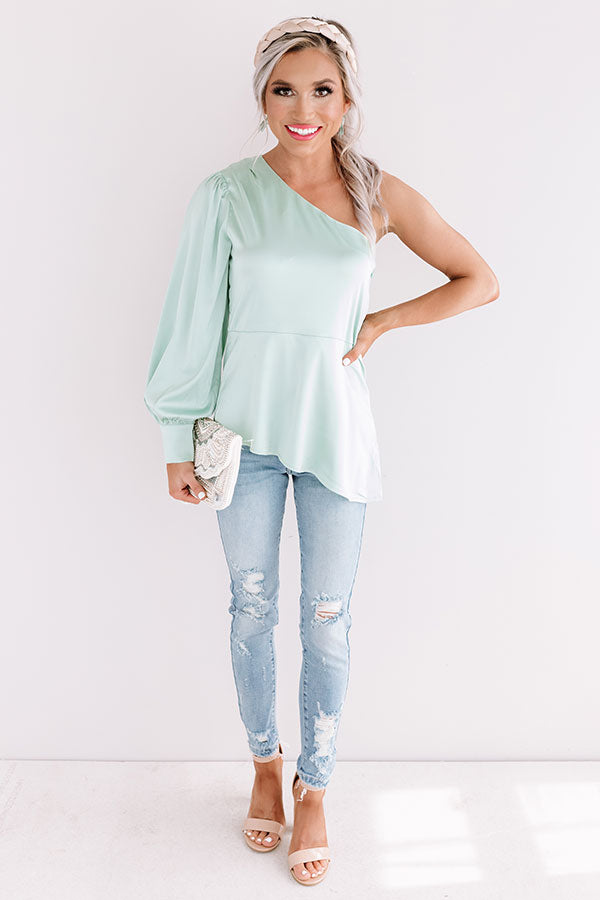 Front Page News Satin Top In Mint