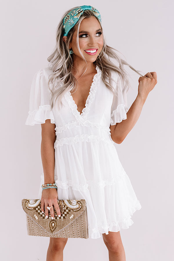 Tea Party Perfection Ruffle Dress In White