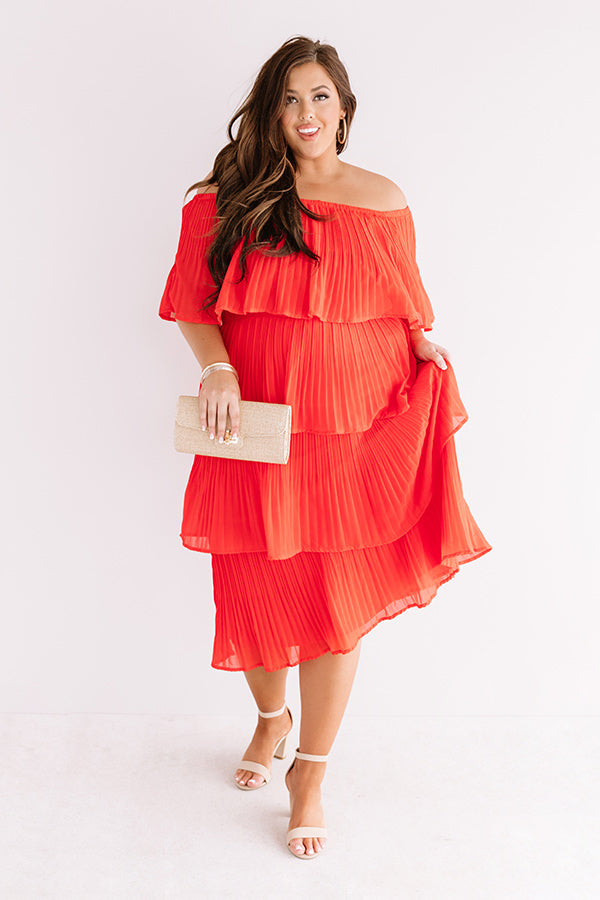 Top Of The World Tiered Dress In Red