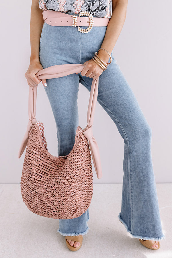 Sunny Situation Woven Tote In Blush