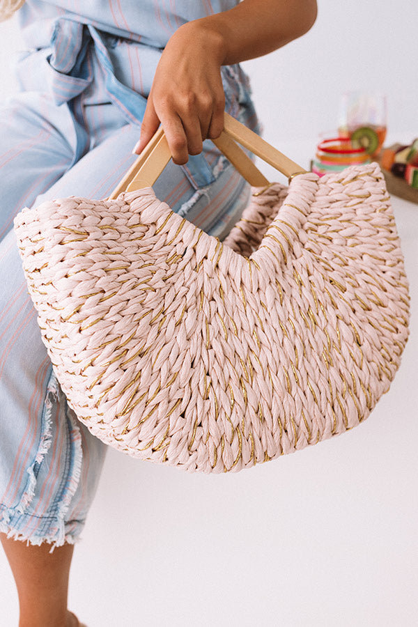 Oceanside Dreaming Woven Tote In Rose Quartz