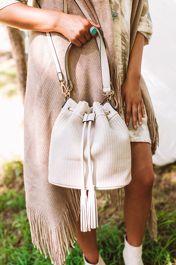 Style Above The Rest Faux Leather Bucket Bag In Birch