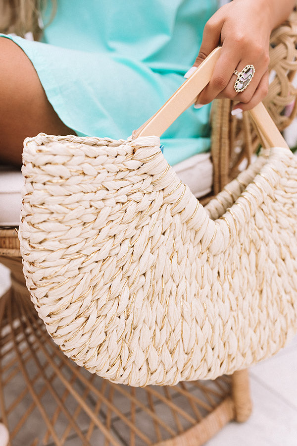 Oceanside Dreaming Woven Tote In Cream