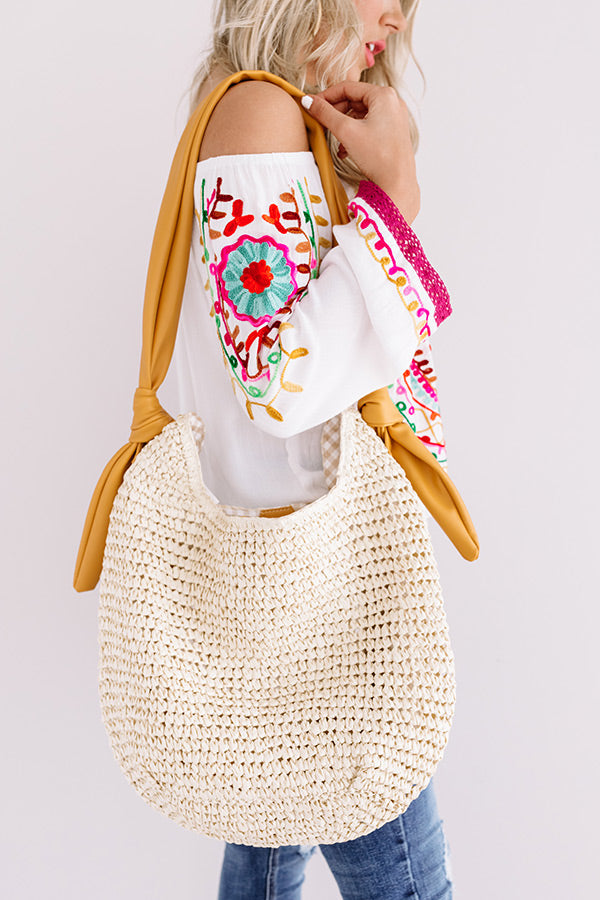 Sunny Situation Woven Tote In Marigold