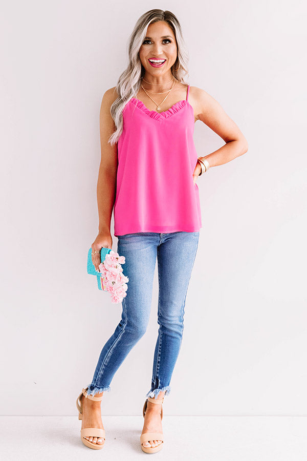 Treasure Island Shift Tank In Hot Pink