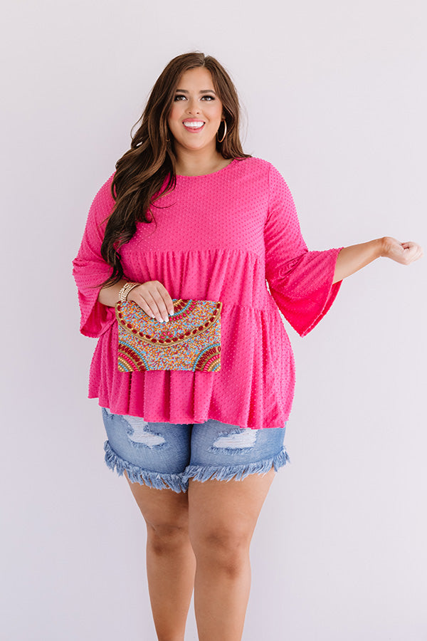 Settle Into Chic Shift Top In Pink