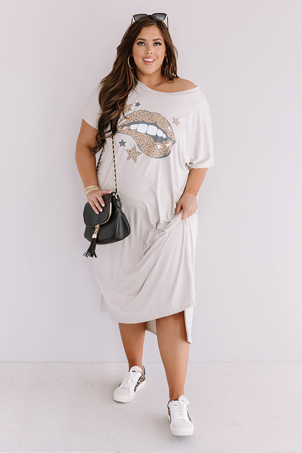 Leopard Lips T-Shirt Midi In Birch