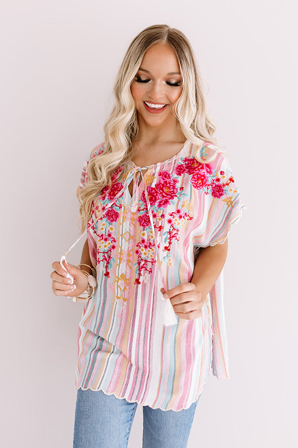 Greeting From Paradise Embroidered Top