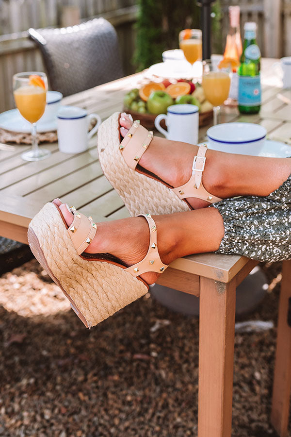 The Stassi Stud Wedge In Iced Latte