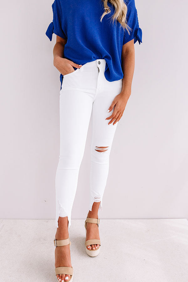 The Emory High Waist Distressed Ankle Skinny In White