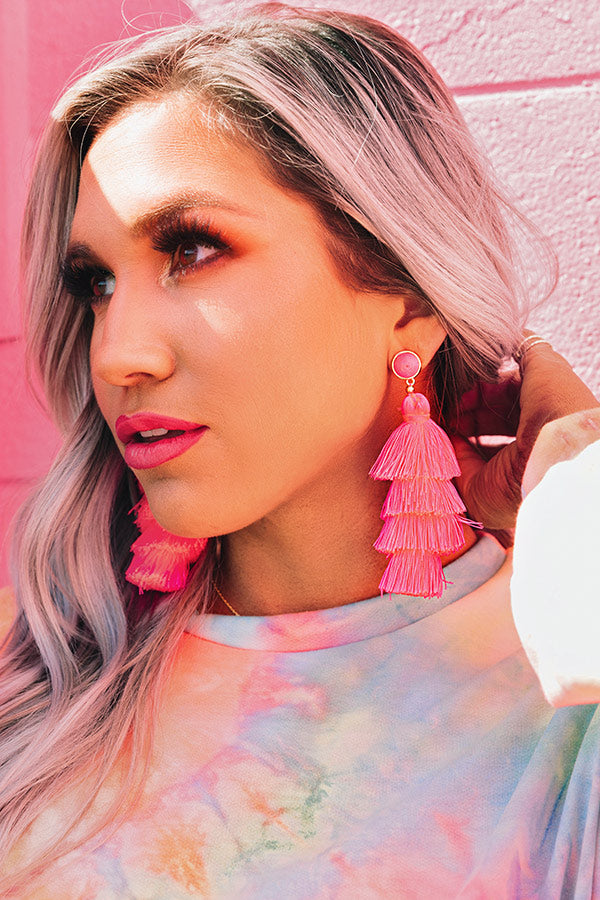 Vineyard Vibes Tassel Earrings In Neon Pink
