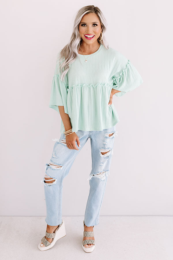 City Skies Babydoll Top In Mint