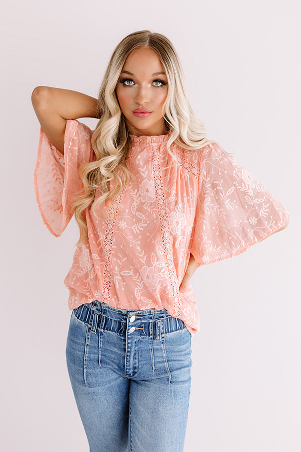 Blossom Brunch Embroidered Top In Peach