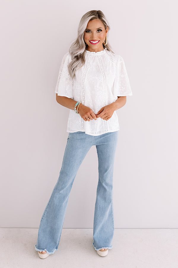 Blossom Brunch Embroidered Top In White