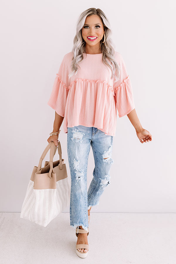 City Skies Babydoll Top In Pink