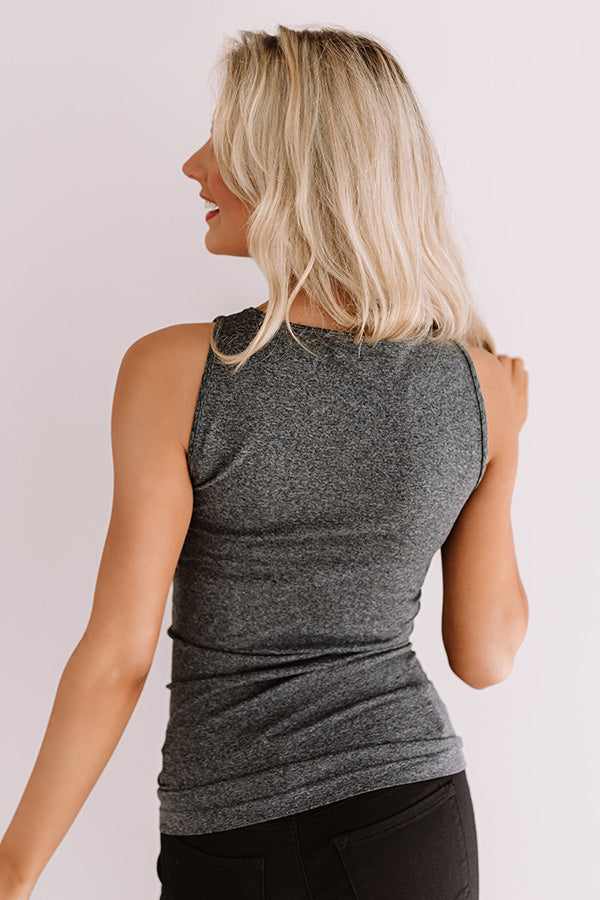 Basic Instincts Seamless Tank In Charcoal