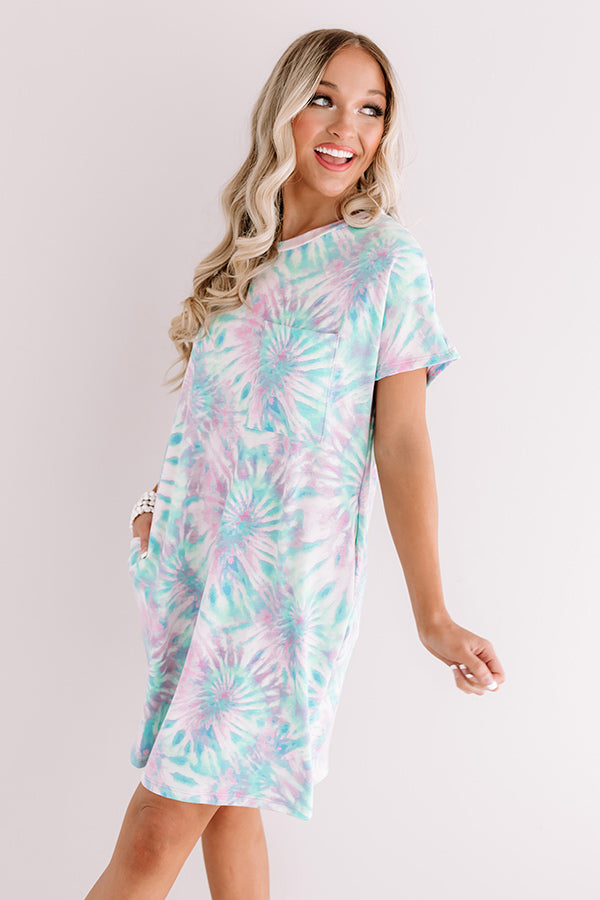Beachy Mood Tie Dye T-Shirt Dress in Ocean Wave