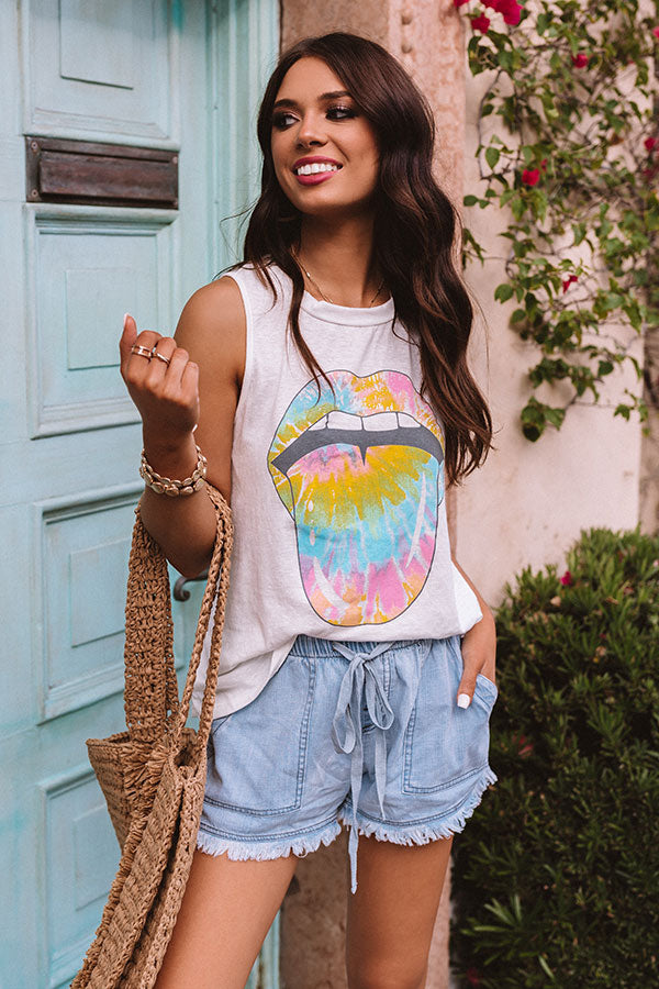 Love To Laugh Tie Dye Tank in White