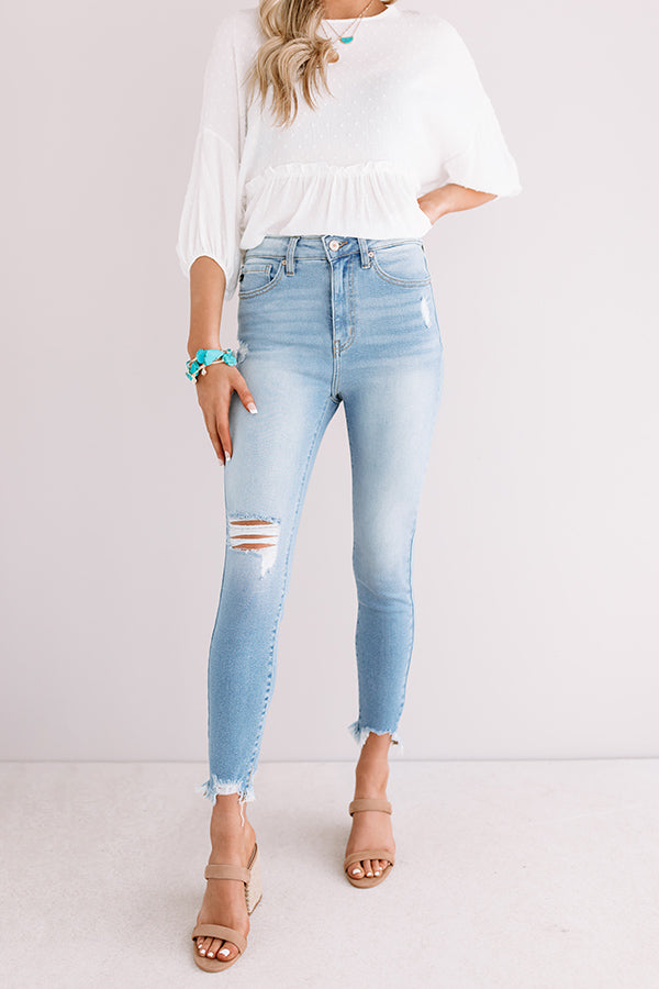 The Ella High Waist Distressed Ankle Skinny