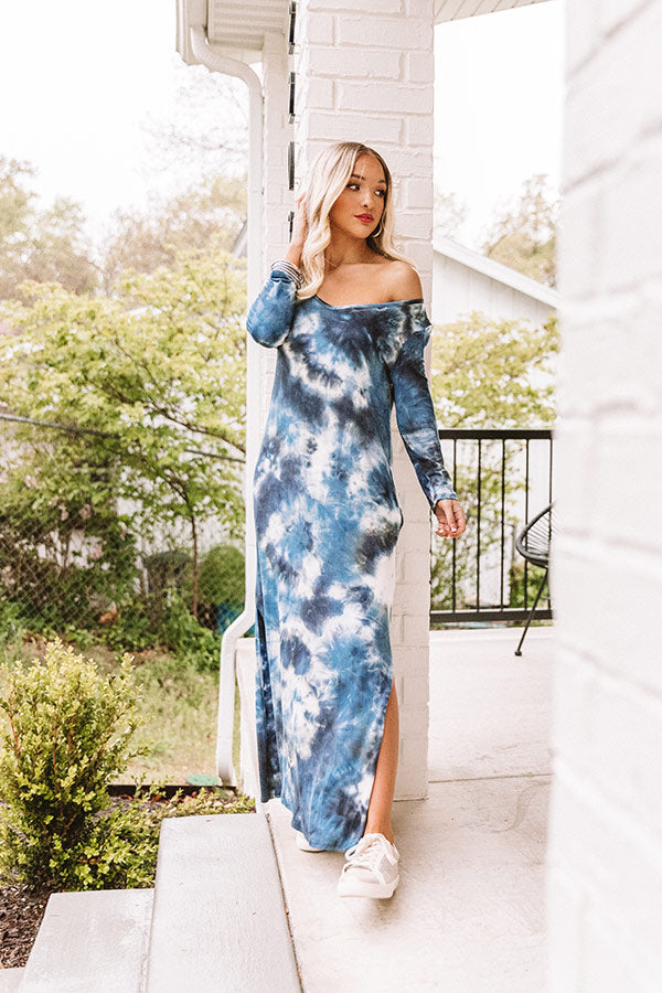 Peace Out Tie Dye Maxi In Navy