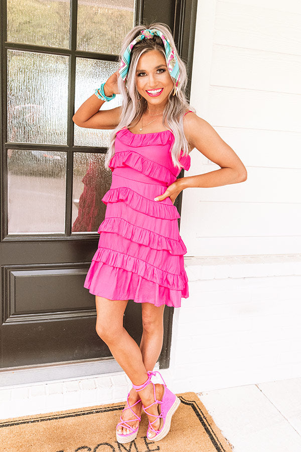 Amalfi Spritz Ruffle Dress In Hot Pink