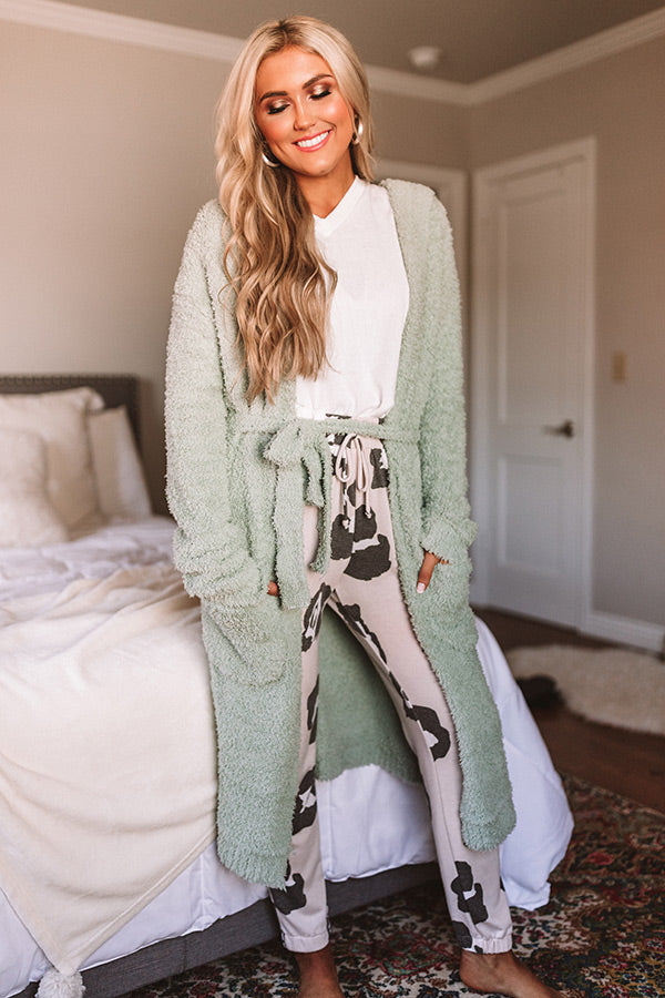Morning Cuddles Fuzzy Robe in Sage
