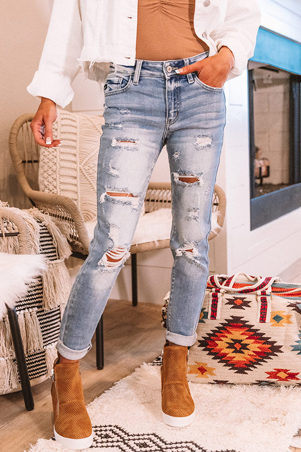 The Lula Midrise Distressed Ankle Skinny
