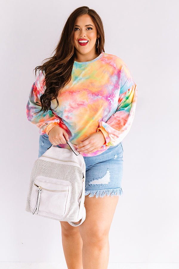 Give It A Swirl Tie Dye Sweatshirt in Orange