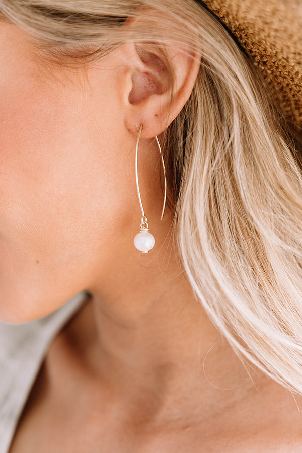 Drop Hoop Pearl Earrings