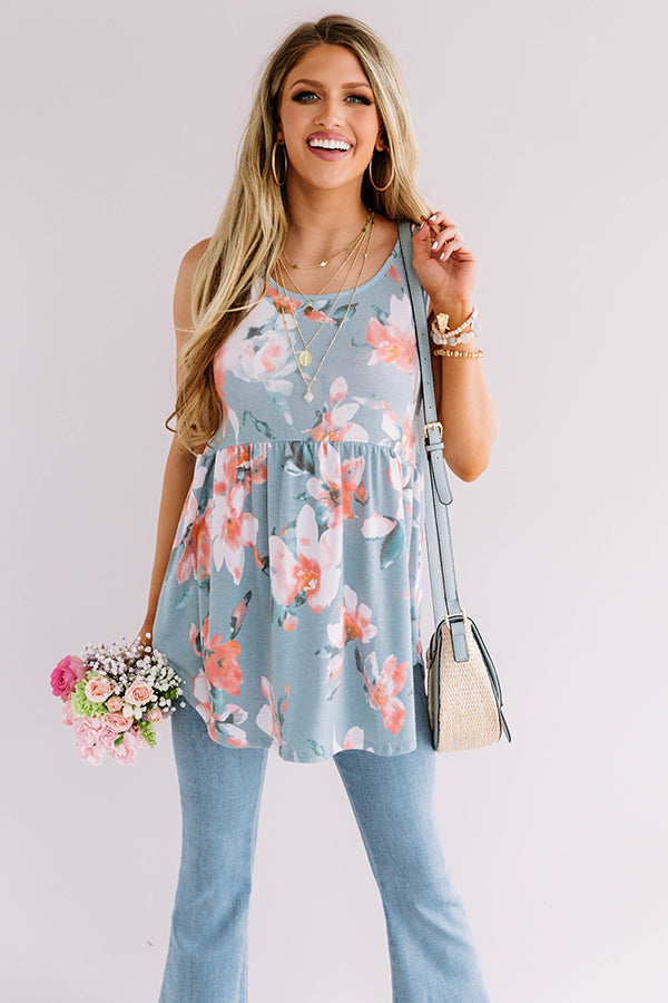 Better In Blooms Babydoll Top in Sky Blue
