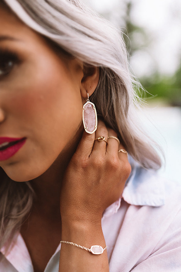 Elle Gold Drop Earrings in Rose Quartz