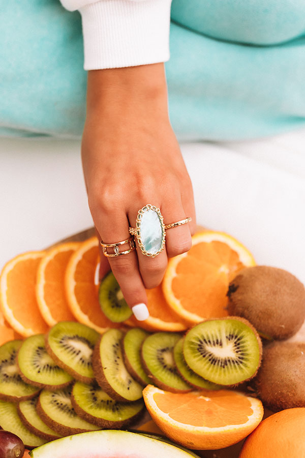 Macrame Ellen Gold Cocktail Ring in Aqua Illusion