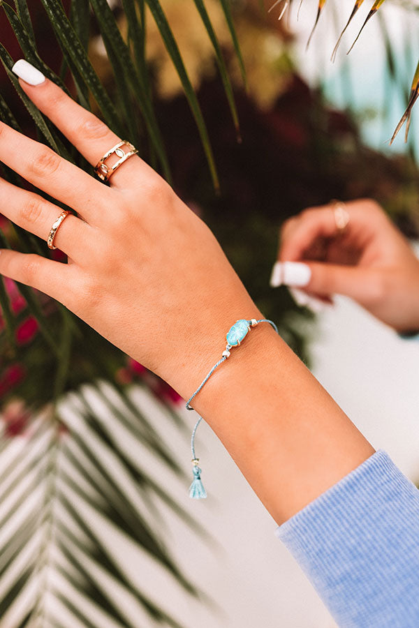 Everlyne Blue Cord Friendship Bracelet in Turquoise Kyocera Opal Illusion
