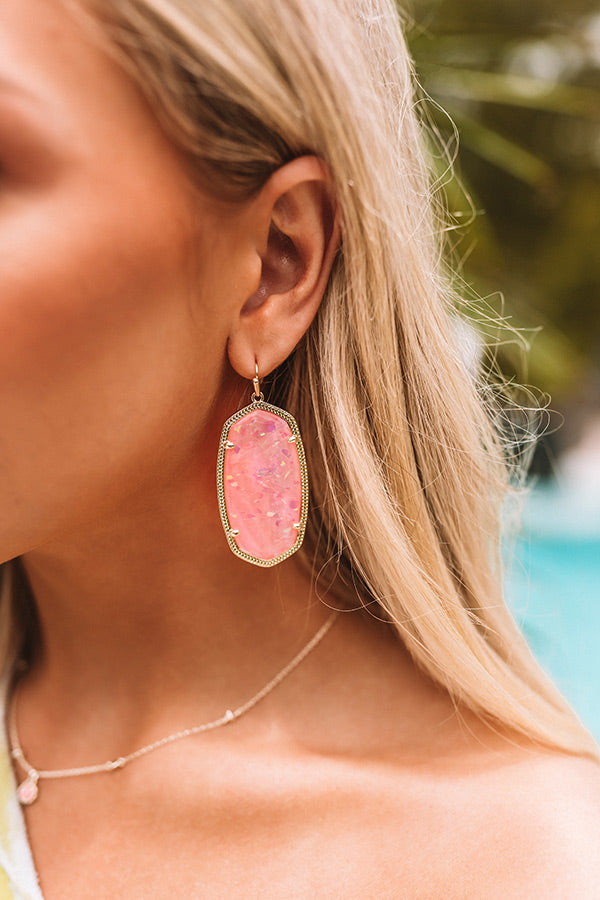 Danielle Gold Statement Earrings in Iridescent Coral Illusion