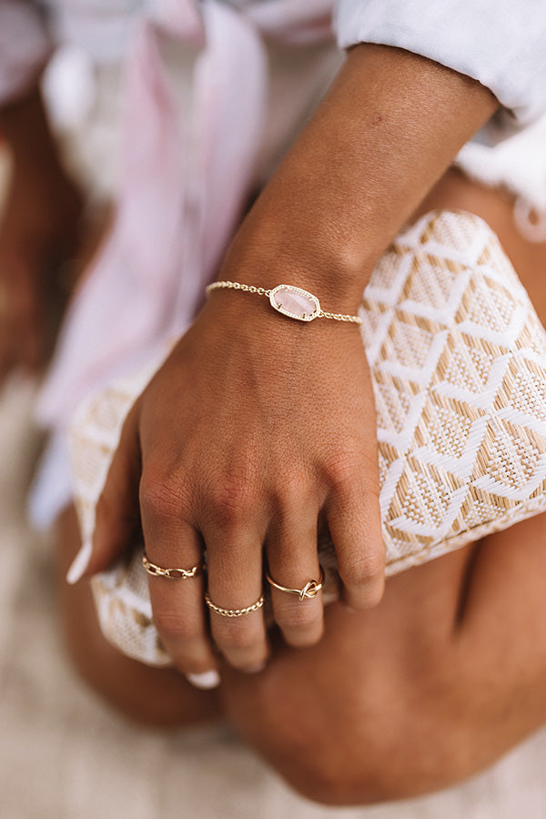 Elaina Gold Adjustable Chain Bracelet in Rose Quartz
