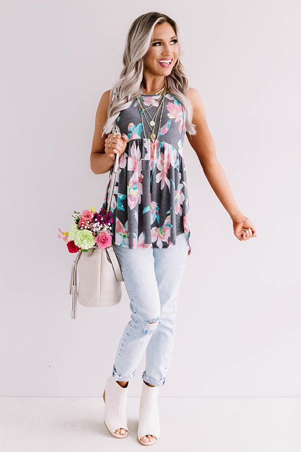 Better In Blooms Babydoll Top In Turquoise