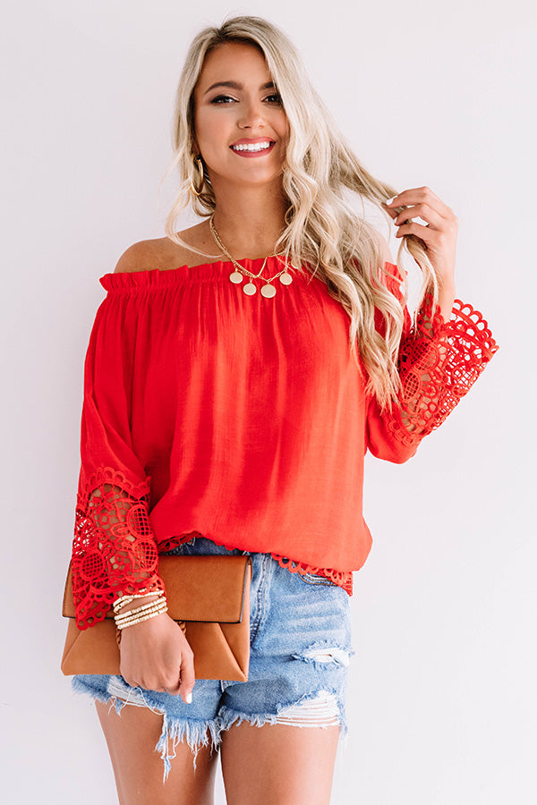 Docking At Sunset Crochet Top In Red