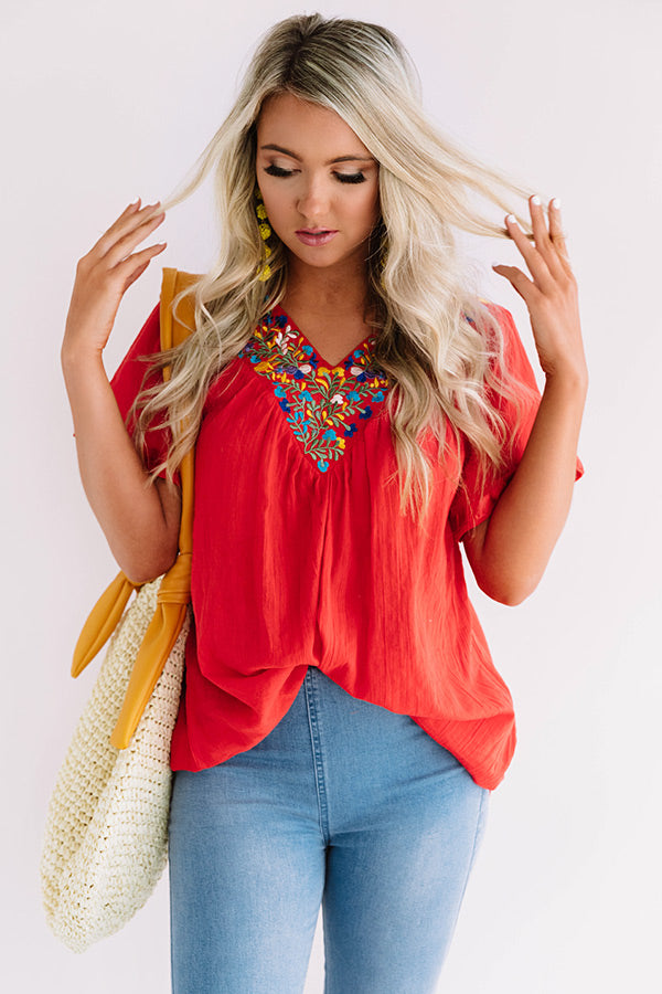 Mediterranean Sea Embroidered Top In Red
