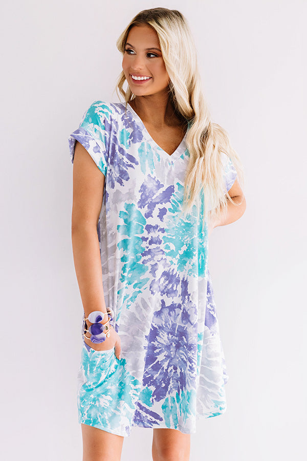 Beyond The Beach Tie Dye Shift Dress in Turquoise