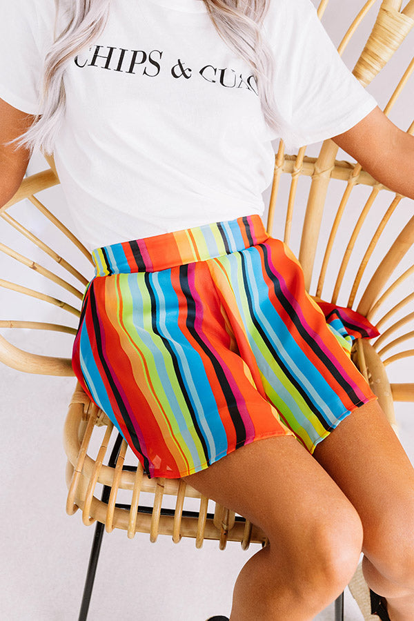 Totally Trending Stripe Swing Shorts in Tangerine