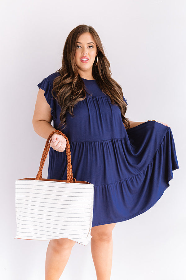 Story Of Us Babydoll Dress In Navy