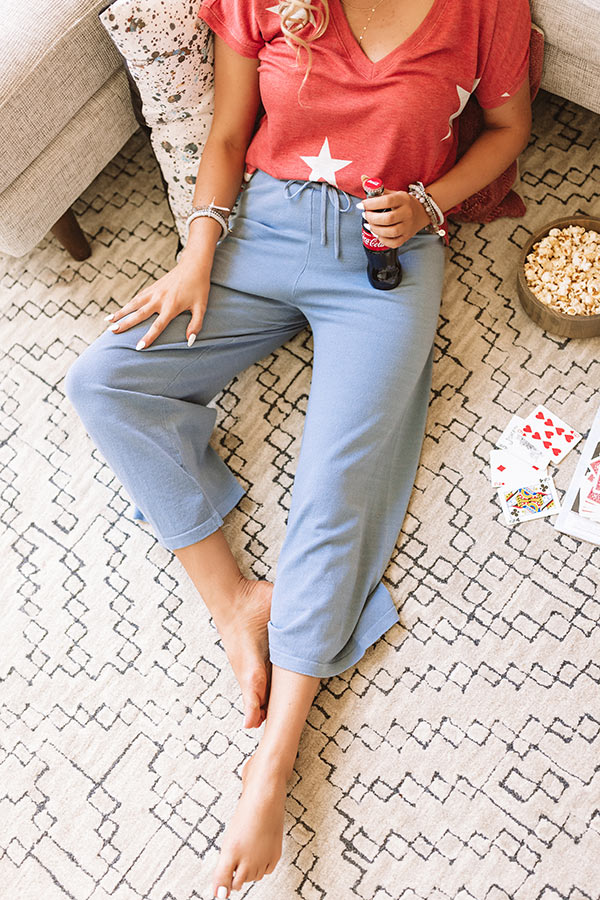 The Josie High Waist Knit Pants In Airy Blue