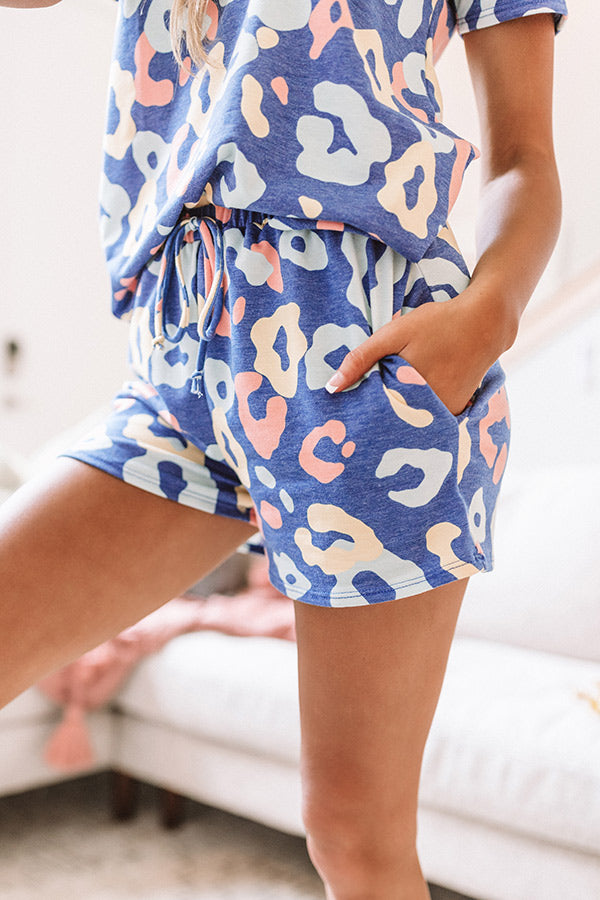 Lattes And Lounge Leopard Shorts in Blue