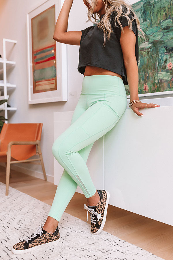 Chasing Happiness High Waist Active Legging In Mint
