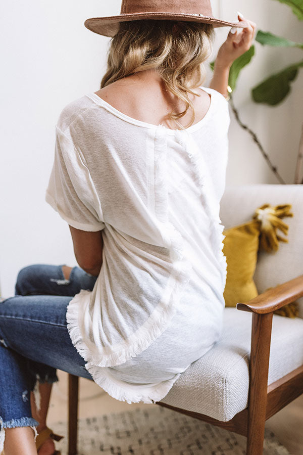Simple Pleasures Frayed Top In White