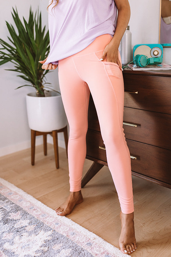 Chasing Happiness High Waist Active Legging In Peach