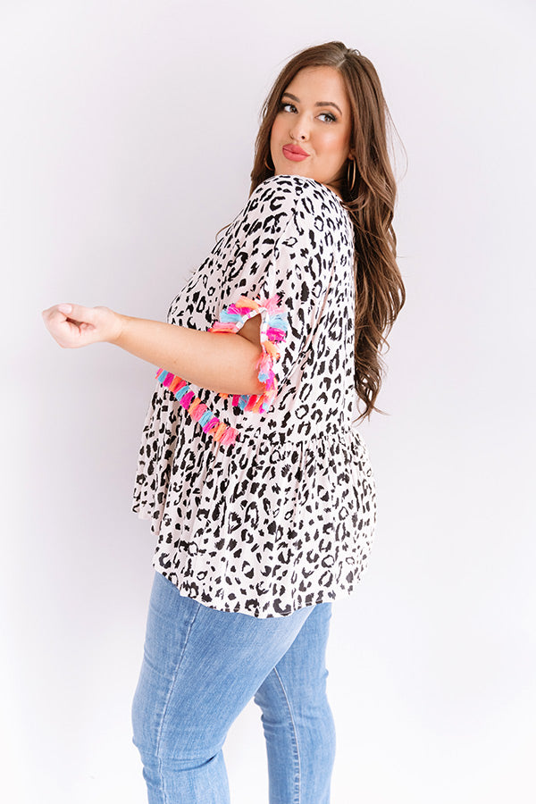 So This Is Love Leopard Shift Top